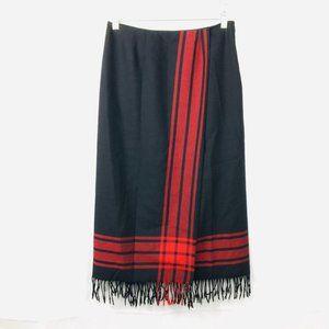 Vintage Black Wool Riding Fringe Wrap Skirt 12P